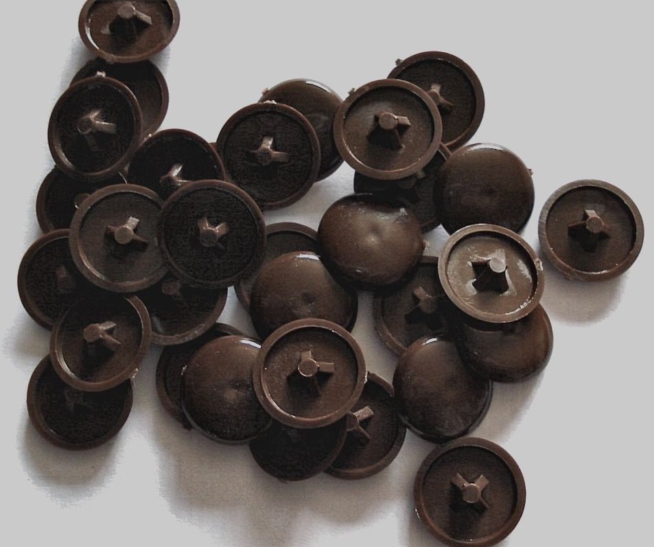 Plastic Dark Brown Press Fit Pozi Screw Head Covers Caps