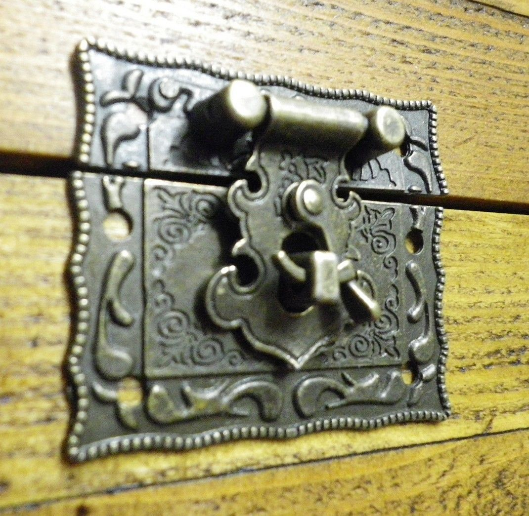 NEW Pair of large buckle clasps box closer latch  ornate bronze finish C053